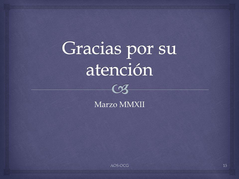 Marzo MMXII AOS-OCG15