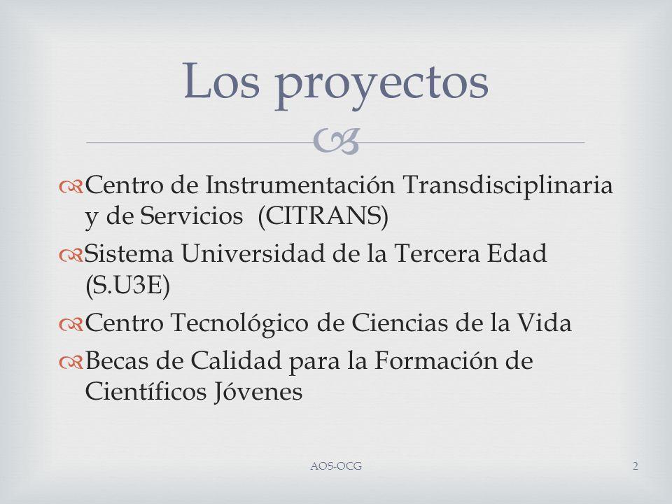 Centro de Instrumentación Transdisciplinaria y de Servicios (CITRANS) Sistema Universidad de la Tercera Edad (S.U3E) Centro Tecnológico de Ciencias de la Vida Becas de Calidad para la Formación de Científicos Jóvenes Los proyectos AOS-OCG2