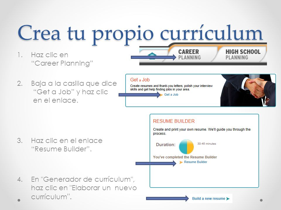 Crea tu propio currículum 1.Haz clic en Career Planning 2.Baja a la casilla que dice Get a Job y haz clic en el enlace. 3.Haz clic en el enlace Resume