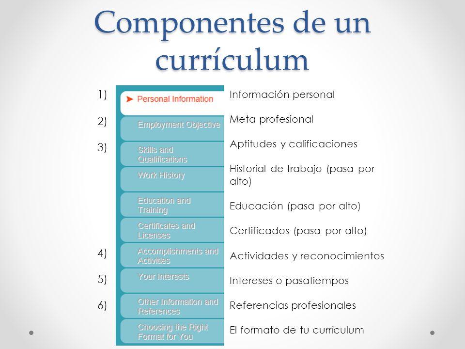 Componentes de un currículum Información personal Meta profesional Aptitudes y calificaciones Historial de trabajo (pasa por alto) Educación (pasa por