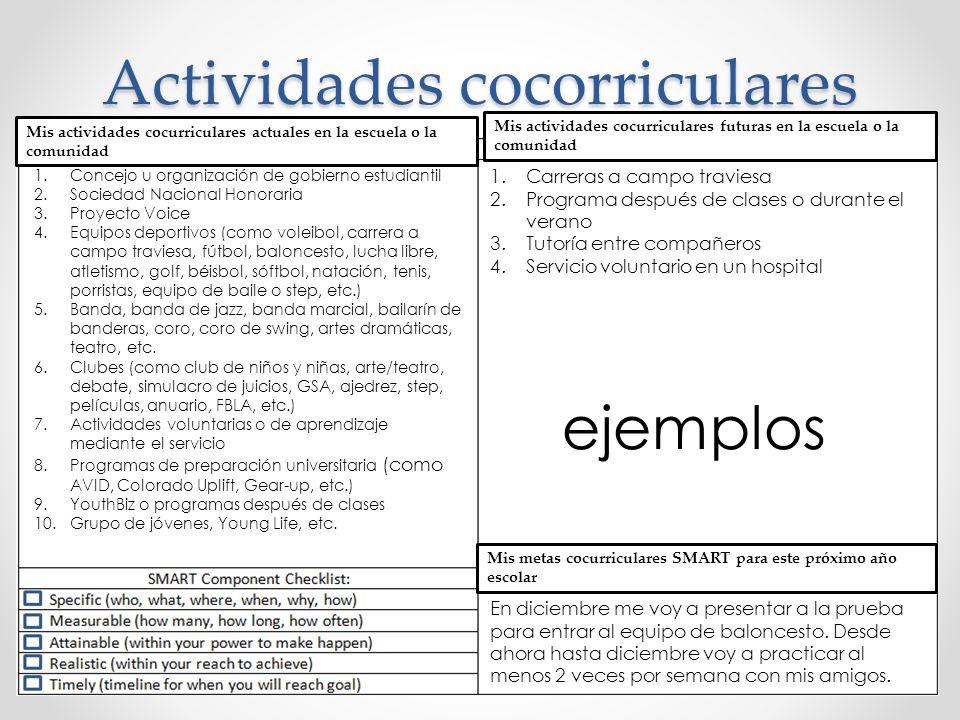 Actividades cocorriculares 1.Concejo u organización de gobierno estudiantil 2.Sociedad Nacional Honoraria 3.Proyecto Voice 4.Equipos deportivos (como