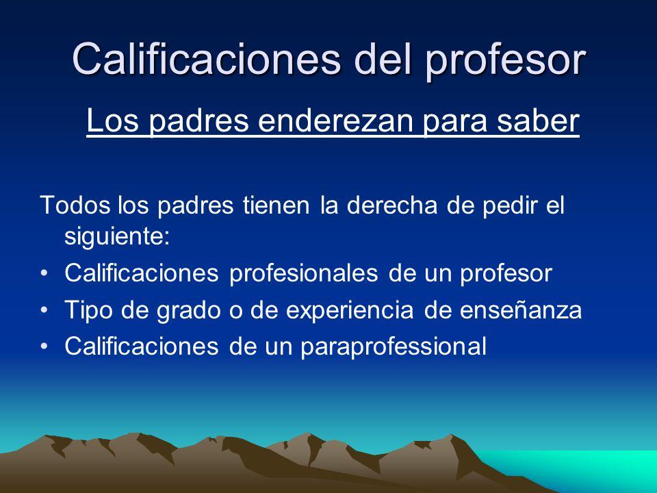 Calificaciones del profesor Los padres enderezan para saber Todos los padres tienen la derecha de pedir el siguiente: Calificaciones profesionales de un profesor Tipo de grado o de experiencia de enseñanza Calificaciones de un paraprofessional