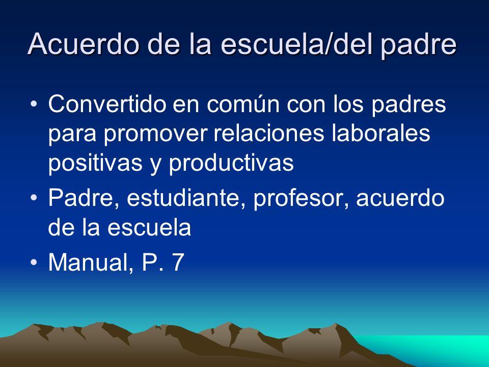 Acuerdo de la escuela/del padre Convertido en común con los padres para promover relaciones laborales positivas y productivas Padre, estudiante, profesor, acuerdo de la escuela Manual, P.