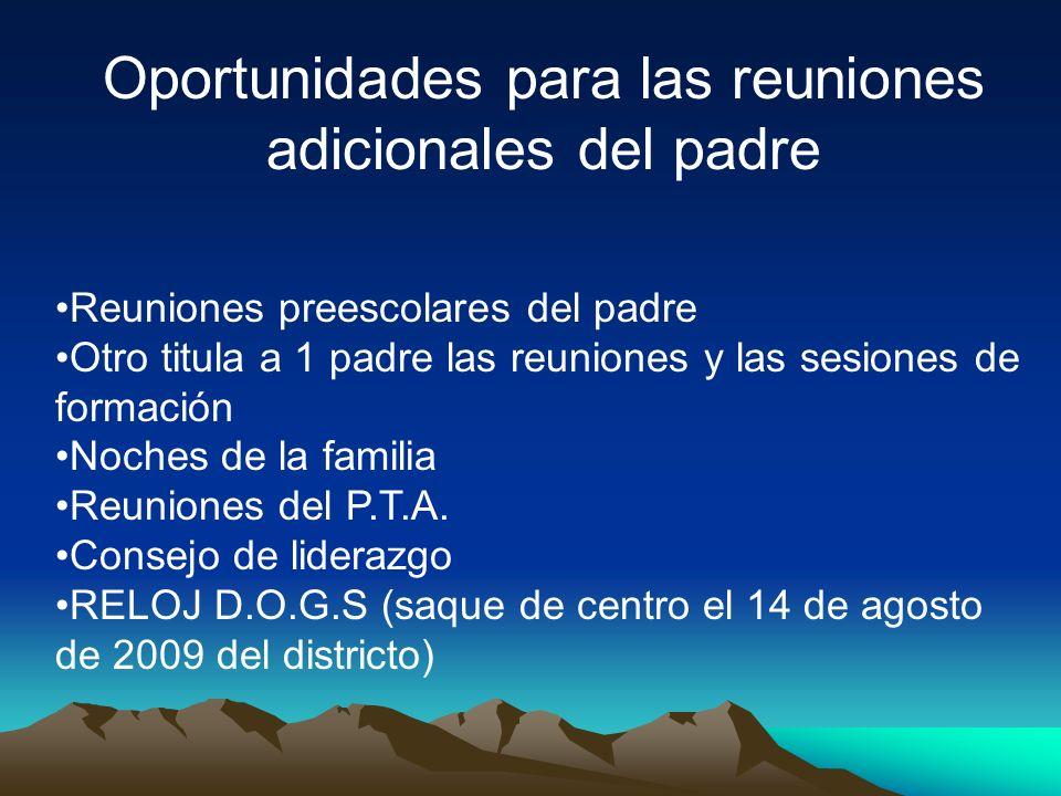 Oportunidades para las reuniones adicionales del padre Reuniones preescolares del padre Otro titula a 1 padre las reuniones y las sesiones de formación Noches de la familia Reuniones del P.T.A.