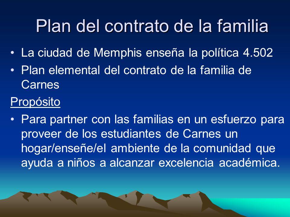 Plan del contrato de la familia La ciudad de Memphis enseña la política 4.502 Plan elemental del contrato de la familia de Carnes Propósito Para partner con las familias en un esfuerzo para proveer de los estudiantes de Carnes un hogar/enseñe/el ambiente de la comunidad que ayuda a niños a alcanzar excelencia académica.