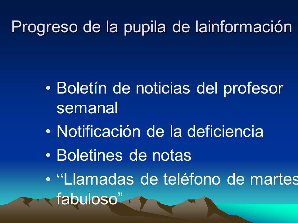 Progreso de la pupila de lainformación Boletín de noticias del profesor semanal Notificación de la deficiencia Boletines de notas Llamadas de teléfono de martes fabuloso
