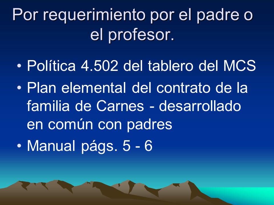 Política 4.502 del tablero del MCS Plan elemental del contrato de la familia de Carnes - desarrollado en común con padres Manual págs.