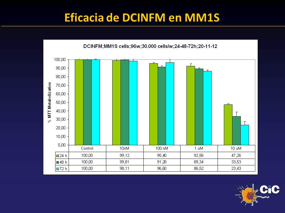 83% Eficacia de DCINFM en MM1S 24.38 % Anexina + 23.14 % Anexina +