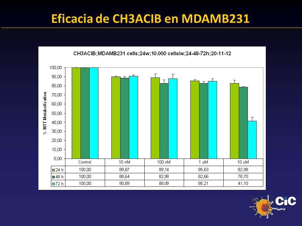83% Eficacia de CH3ACIB en MDAMB231 24.38 % Anexina + 23.14 % Anexina +