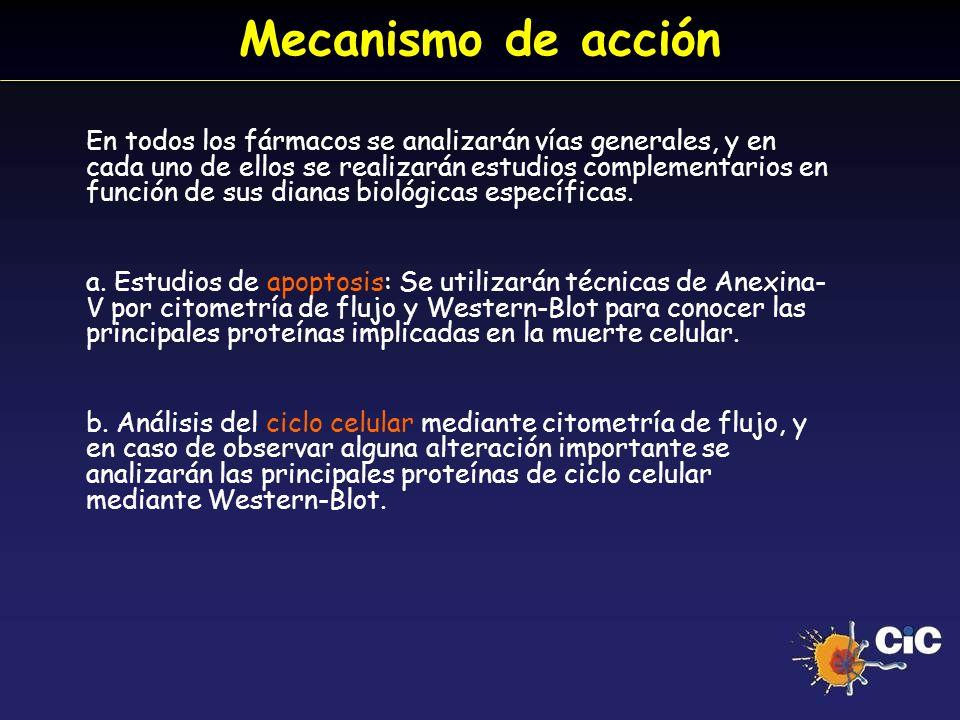 Mecanismo de acción En todos los fármacos se analizarán vías generales, y en cada uno de ellos se realizarán estudios complementarios en función de su