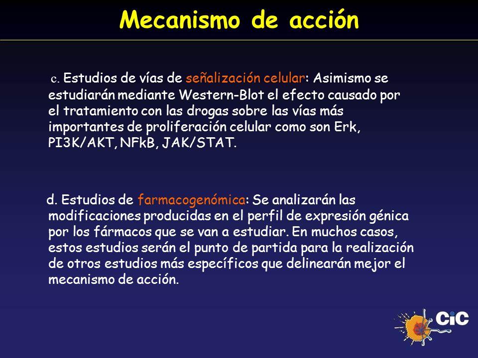 Mecanismo de acción c. Estudios de vías de señalización celular: Asimismo se estudiarán mediante Western-Blot el efecto causado por el tratamiento con
