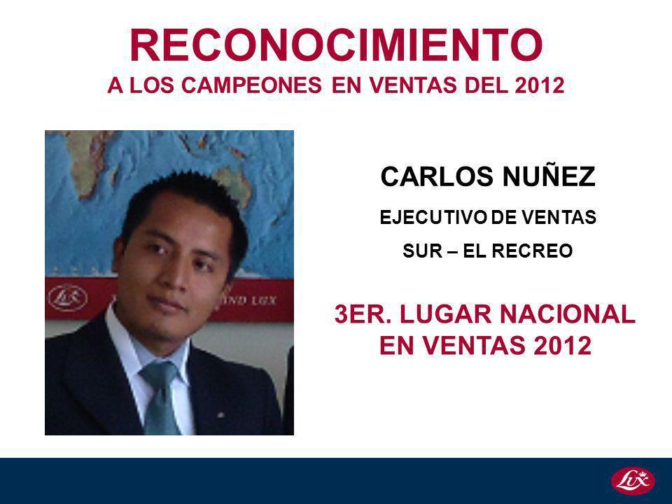 CARLOS NUÑEZ EJECUTIVO DE VENTAS SUR – EL RECREO 3ER. LUGAR NACIONAL EN VENTAS 2012 RECONOCIMIENTO A LOS CAMPEONES EN VENTAS DEL 2012
