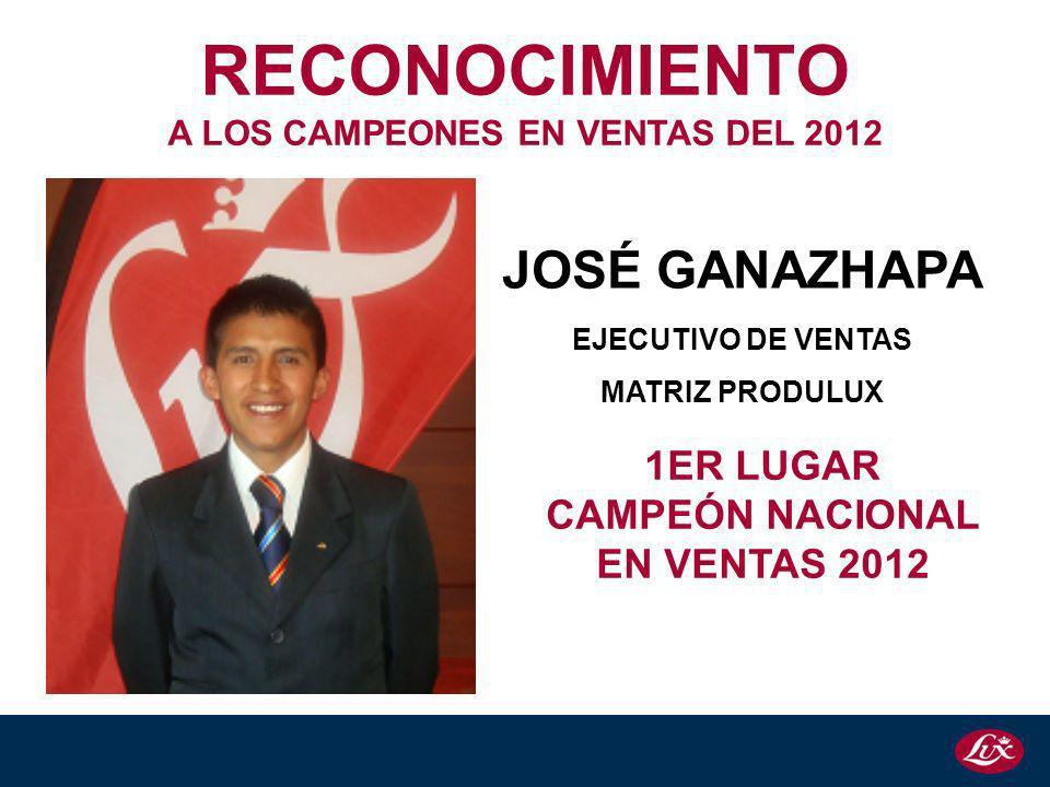 JOSÉ GANAZHAPA EJECUTIVO DE VENTAS MATRIZ PRODULUX 1ER LUGAR CAMPEÓN NACIONAL EN VENTAS 2012 RECONOCIMIENTO A LOS CAMPEONES EN VENTAS DEL 2012