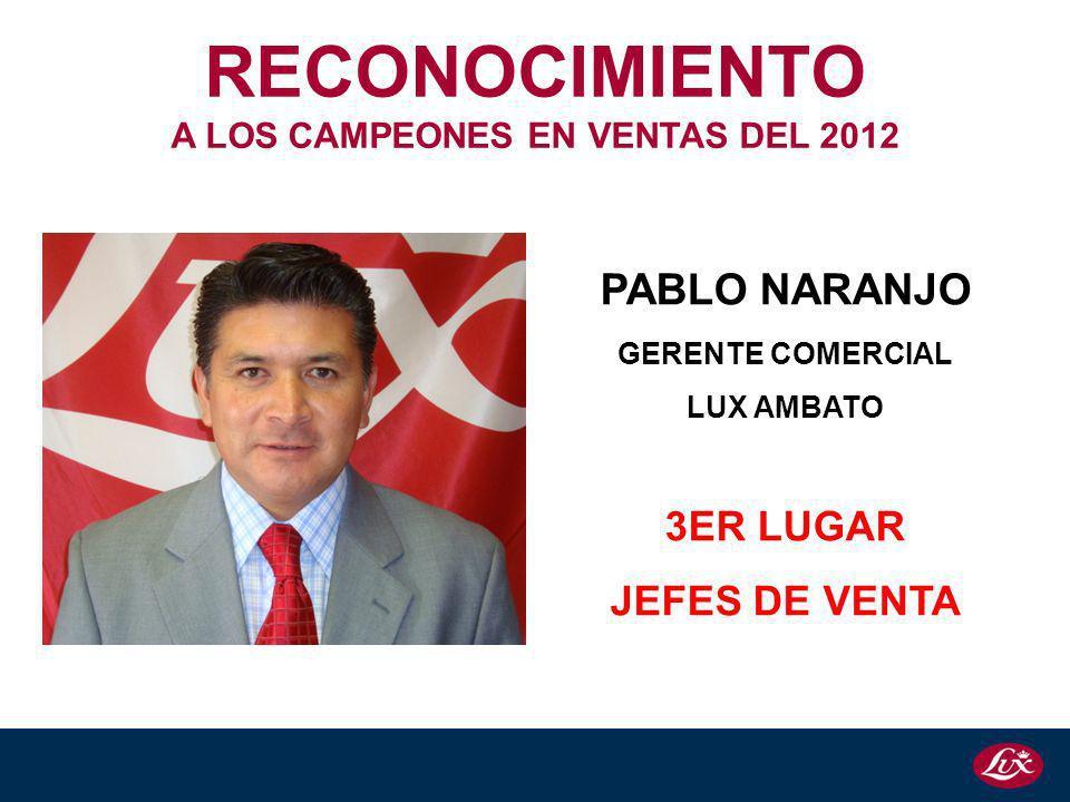 PABLO NARANJO GERENTE COMERCIAL LUX AMBATO 3ER LUGAR JEFES DE VENTA RECONOCIMIENTO A LOS CAMPEONES EN VENTAS DEL 2012