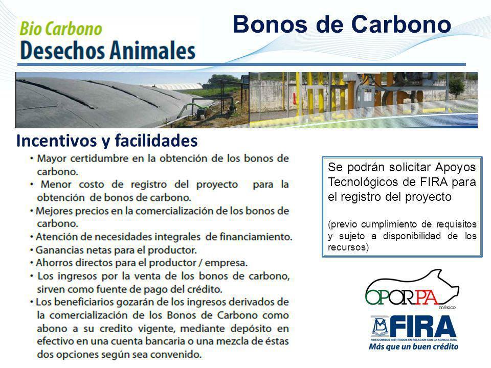 Bonos de Carbono Se podrán solicitar Apoyos Tecnológicos de FIRA para el registro del proyecto (previo cumplimiento de requisitos y sujeto a disponibi