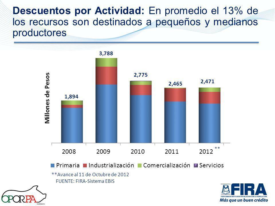 Descuentos por Actividad: En promedio el 13% de los recursos son destinados a pequeños y medianos productores 1,894 3,788 2,775 2,465 2,471 **Avance a