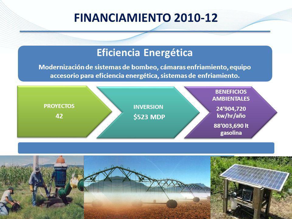 FINANCIAMIENTO 2010-12 Eficiencia Energética Modernización de sistemas de bombeo, cámaras enfriamiento, equipo accesorio para eficiencia energética, s