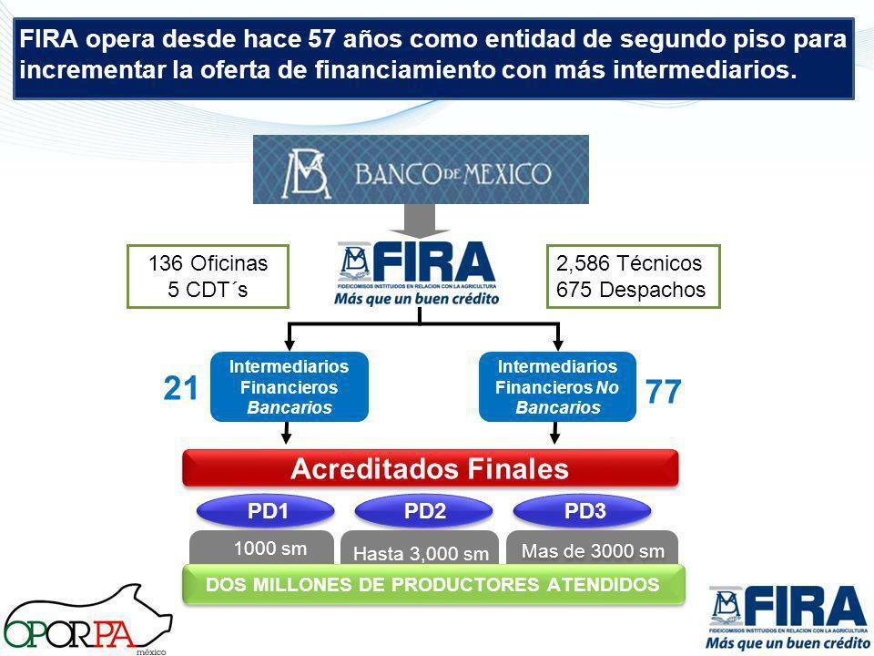 Intermediarios Financieros Bancarios Intermediarios Financieros No Bancarios Acreditados Finales PD1PD2PD3 DOS MILLONES DE PRODUCTORES ATENDIDOS 1000