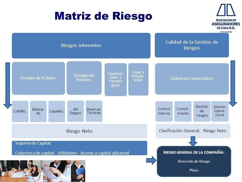 Matriz de Riesgo Riesgos inherentes Riesgos de Activos: Crédito, Merca- do Liquidez Riesgos de Pasivos: del Seguro Reservas Técnicas Operacio- nales y