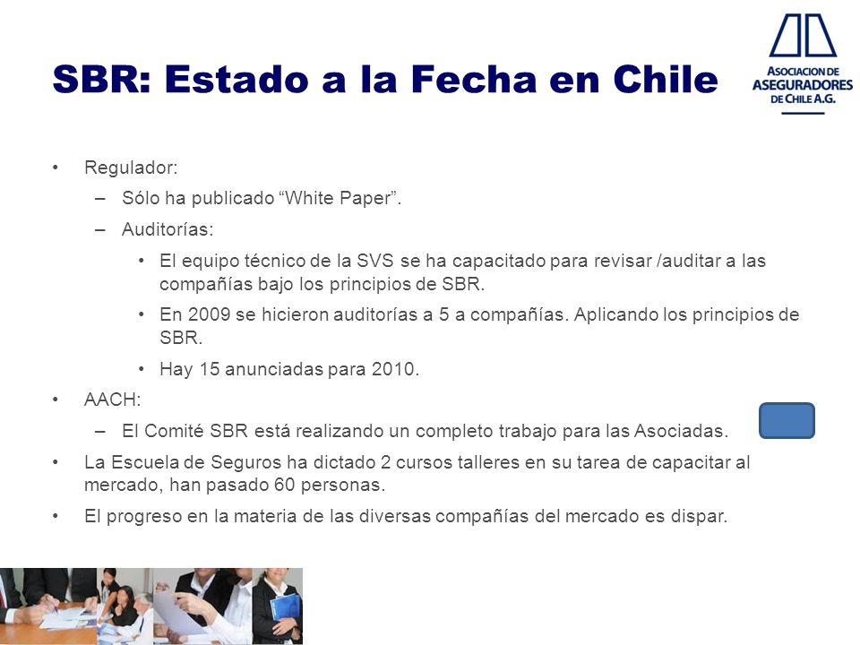 SBR: Estado a la Fecha en Chile Regulador: –Sólo ha publicado White Paper. –Auditorías: El equipo técnico de la SVS se ha capacitado para revisar /aud
