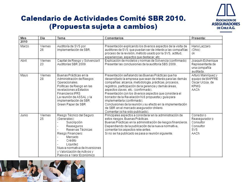 Calendario de Actividades Comité SBR 2010. (Propuesta sujeta a cambios) MesDíaTemaComentariosPresenta: 2010 MarzoViernes 26 Auditoría de SVS por imple