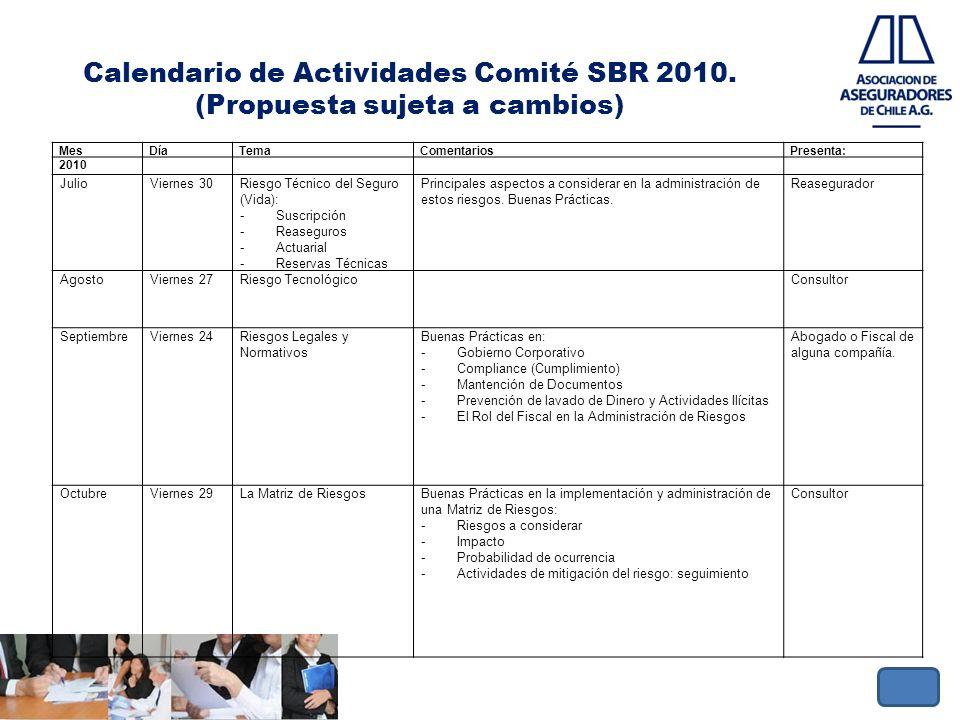 Calendario de Actividades Comité SBR 2010. (Propuesta sujeta a cambios) MesDíaTemaComentariosPresenta: 2010 JulioViernes 30Riesgo Técnico del Seguro (
