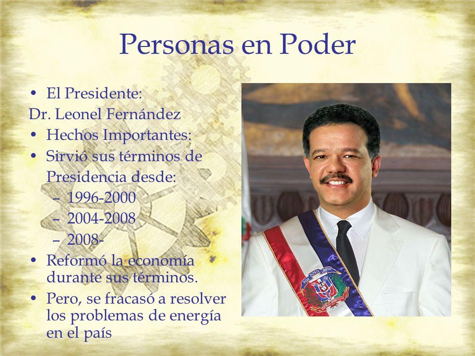 Personas en Poder El Presidente: Dr. Leonel Fernández Hechos Importantes: Sirvió sus términos de Presidencia desde: –1996-2000 –2004-2008 –2008- Refor