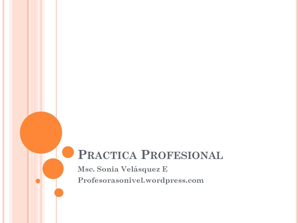 P RACTICA P ROFESIONAL Msc. Sonia Velásquez E Profesorasonivel.wordpress.com