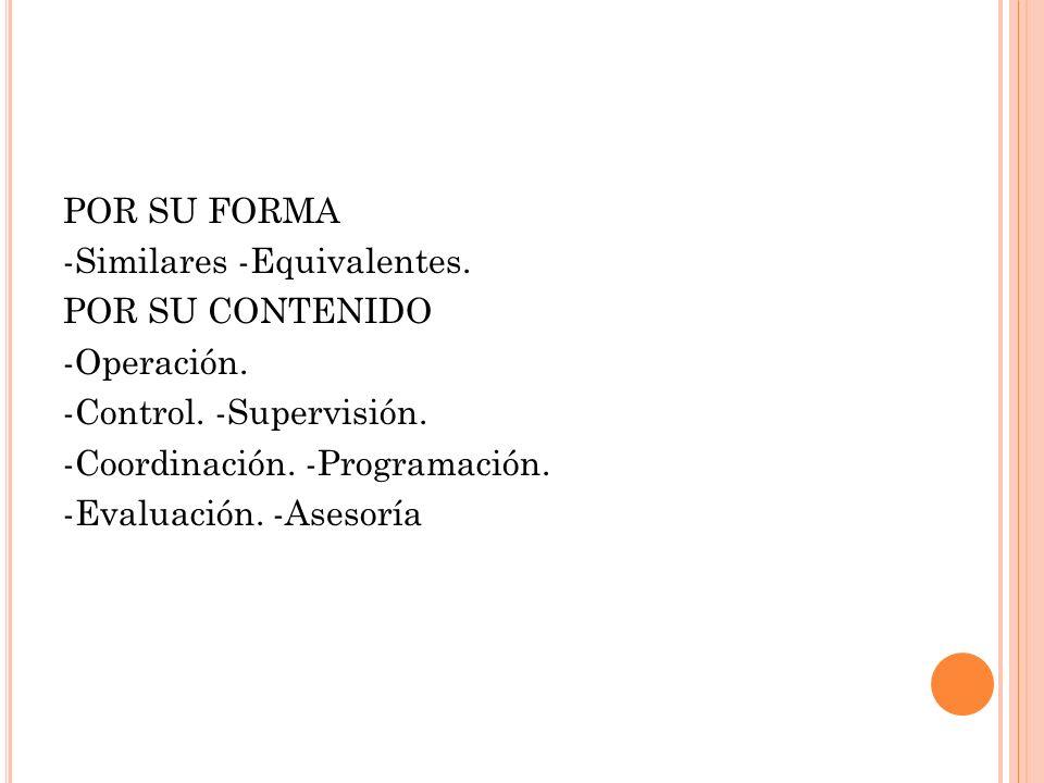 POR SU FORMA -Similares -Equivalentes. POR SU CONTENIDO -Operación. -Control. -Supervisión. -Coordinación. -Programación. -Evaluación. -Asesoría