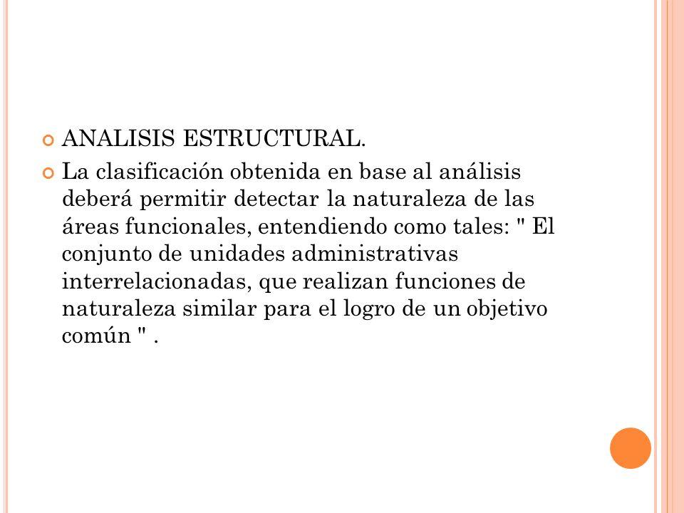 ANALISIS ESTRUCTURAL. La clasificación obtenida en base al análisis deberá permitir detectar la naturaleza de las áreas funcionales, entendiendo como