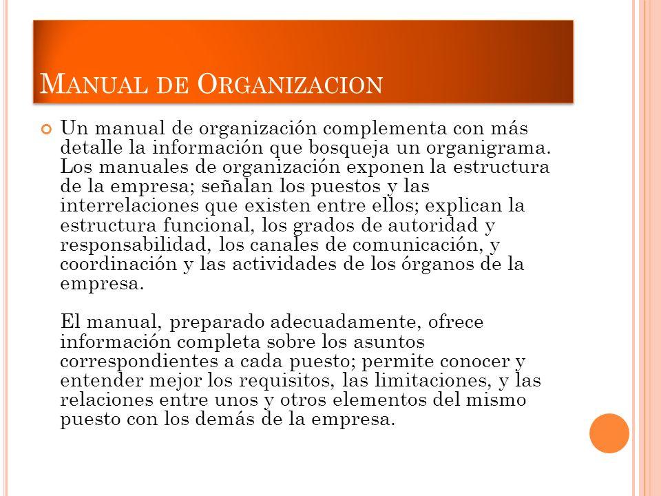 M ANUAL DE O RGANIZACION Un manual de organización complementa con más detalle la información que bosqueja un organigrama. Los manuales de organizació
