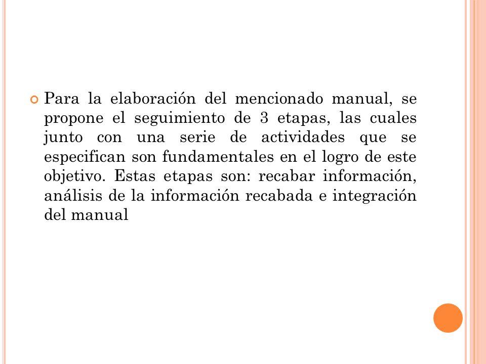 Para la elaboración del mencionado manual, se propone el seguimiento de 3 etapas, las cuales junto con una serie de actividades que se especifican son