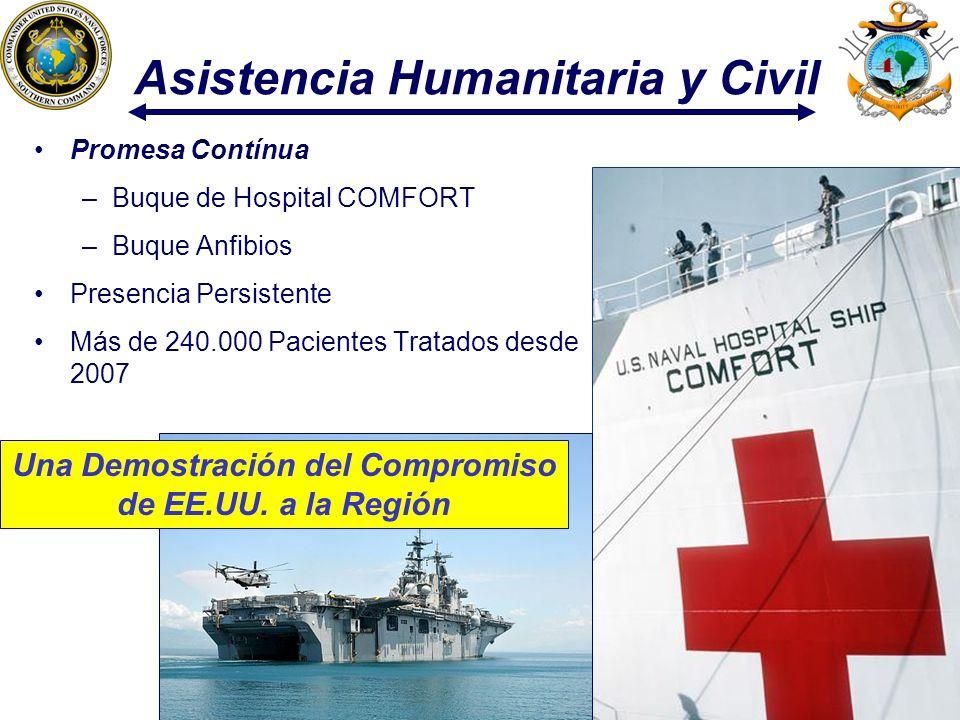 11 Asistencia Humanitaria y Civil Promesa Contínua –Buque de Hospital COMFORT –Buque Anfibios Presencia Persistente Más de 240.000 Pacientes Tratados