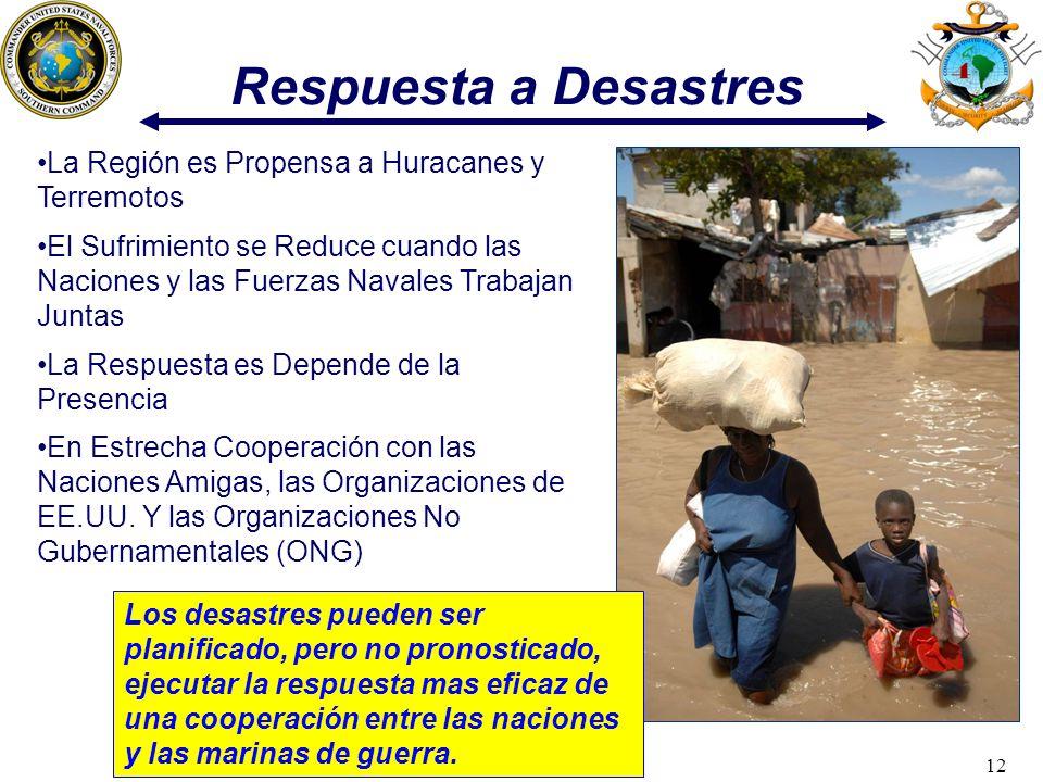 12 Respuesta a Desastres Los desastres pueden ser planificado, pero no pronosticado, ejecutar la respuesta mas eficaz de una cooperación entre las nac