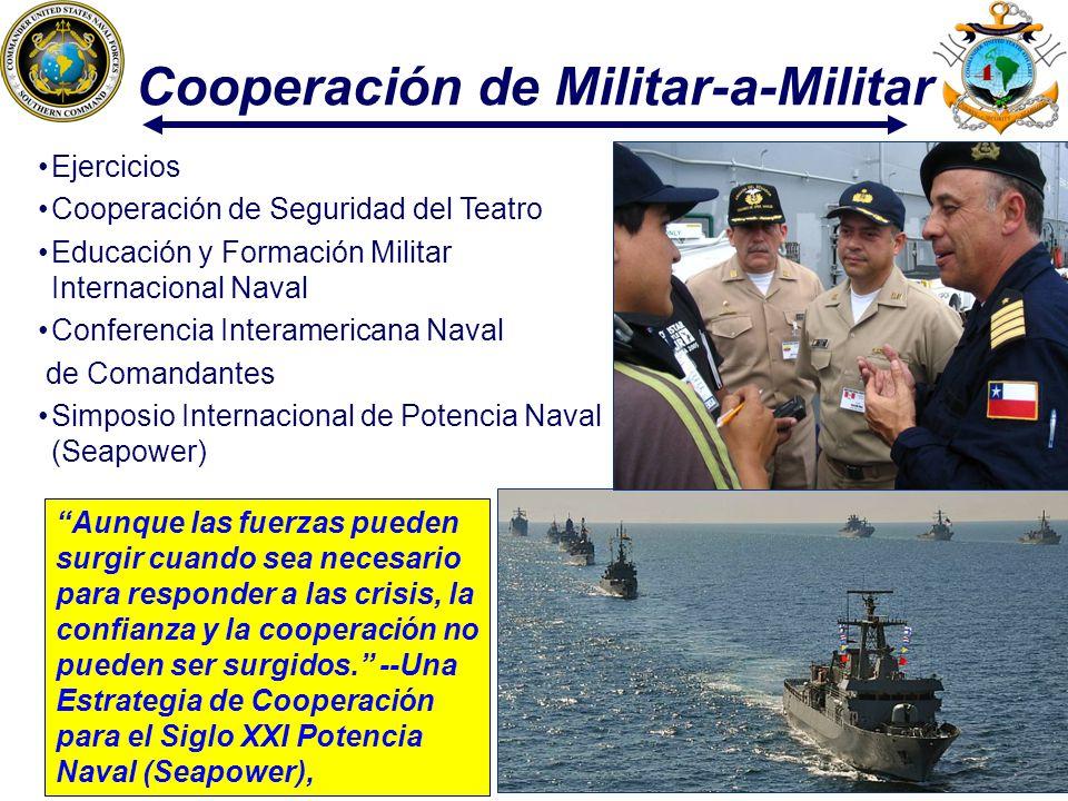 13 Cooperación de Militar-a-Militar Aunque las fuerzas pueden surgir cuando sea necesario para responder a las crisis, la confianza y la cooperación n