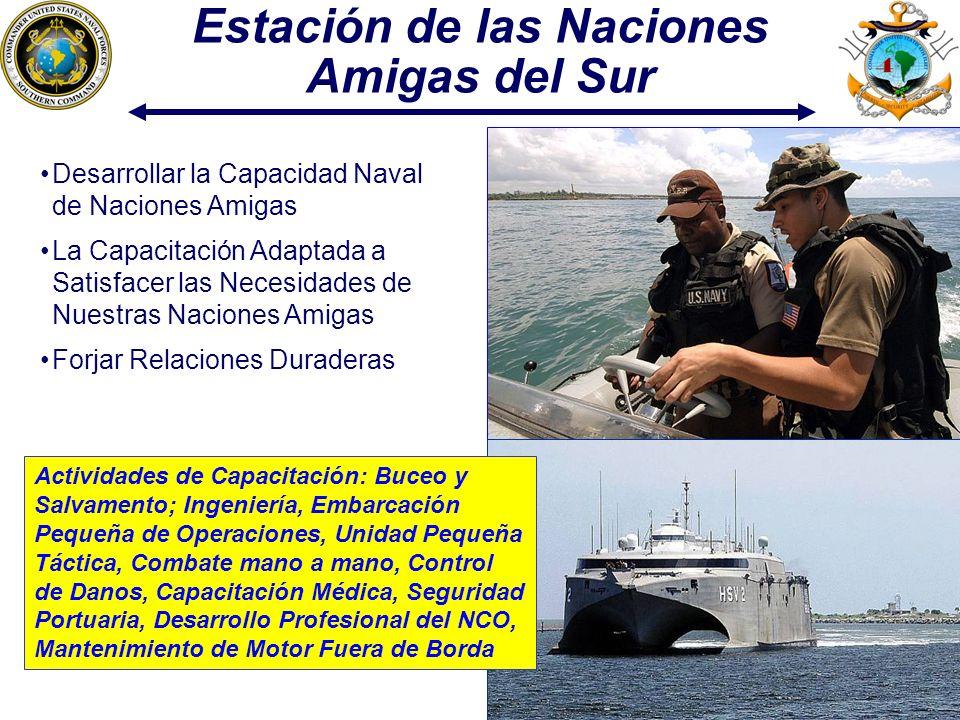 14 Estación de las Naciones Amigas del Sur Desarrollar la Capacidad Naval de Naciones Amigas La Capacitación Adaptada a Satisfacer las Necesidades de