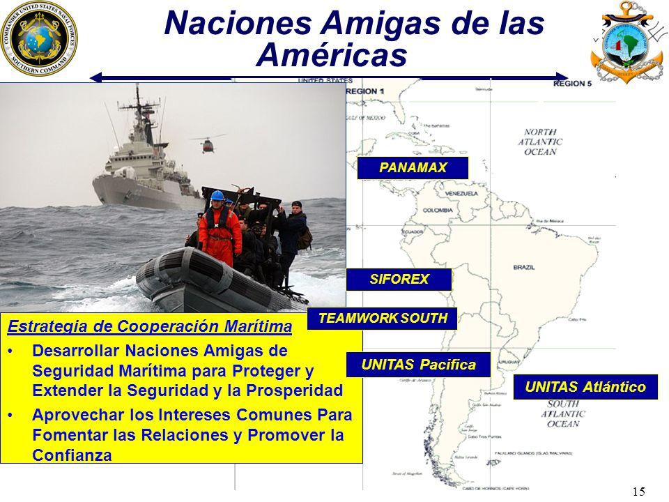 15 PANAMAX UNITAS Atlántico Naciones Amigas de las Américas Estrategia de Cooperación Marítima Desarrollar Naciones Amigas de Seguridad Marítima para