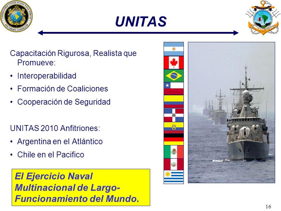 16 Capacitación Rigurosa, Realista que Promueve: Interoperabilidad Formación de Coaliciones Cooperación de Seguridad UNITAS 2010 Anfitriones: Argentin