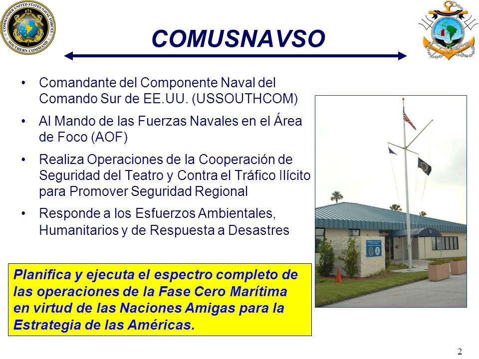 2 COMUSNAVSO Comandante del Componente Naval del Comando Sur de EE.UU. (USSOUTHCOM) Al Mando de las Fuerzas Navales en el Área de Foco (AOF) Realiza O