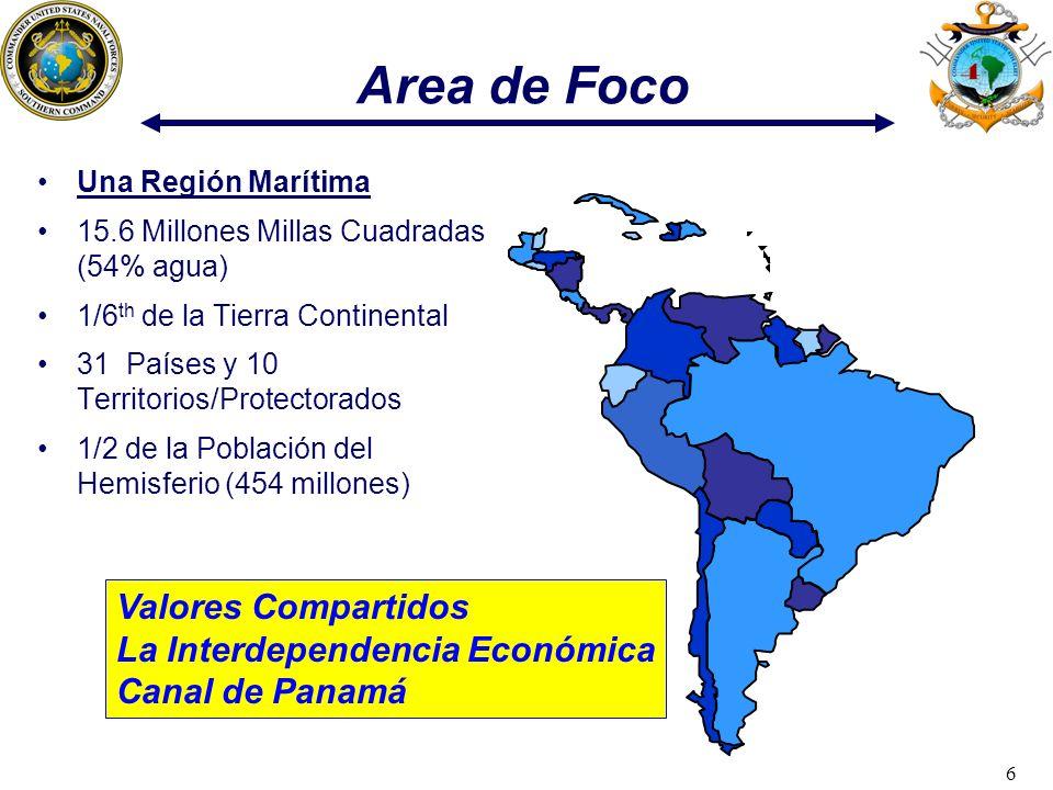 6 Area de Foco Una Región Marítima 15.6 Millones Millas Cuadradas (54% agua) 1/6 th de la Tierra Continental 31 Países y 10 Territorios/Protectorados