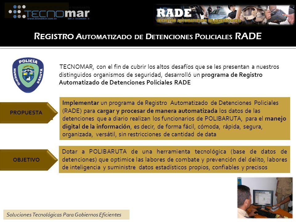 TECNOMAR, con el fin de cubrir los altos desafíos que se les presentan a nuestros distinguidos organismos de seguridad, desarrolló un programa de Registro Automatizado de Detenciones Policiales RADE Soluciones Tecnológicas Para Gobiernos Eficientes Implementar un programa de Registro Automatizado de Detenciones Policiales (RADE) para cargar y procesar de manera automatizada los datos de las detenciones que a diario realizan los funcionarios de POLIBARUTA, para el manejo digital de la información, es decir, de forma fácil, cómoda, rápida, segura, organizada, versátil, sin restricciones de cantidad de data PROPUESTA Dotar a POLIBARUTA de una herramienta tecnológica (base de datos de detenciones) que optimice las labores de combate y prevención del delito, labores de inteligencia y suministre datos estadísticos propios, confiables y precisos OBJETIVO R EGISTRO A UTOMATIZADO DE D ETENCIONES P OLICIALES RADE