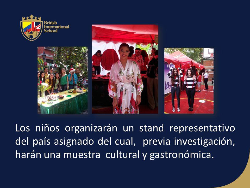 Los niños organizarán un stand representativo del país asignado del cual, previa investigación, harán una muestra cultural y gastronómica.
