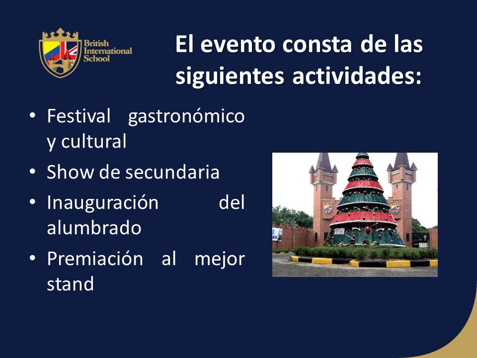 El evento consta de las siguientes actividades: Festival gastronómico y cultural Show de secundaria Inauguración del alumbrado Premiación al mejor stand