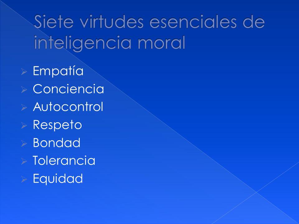 Empatía Conciencia Autocontrol Respeto Bondad Tolerancia Equidad