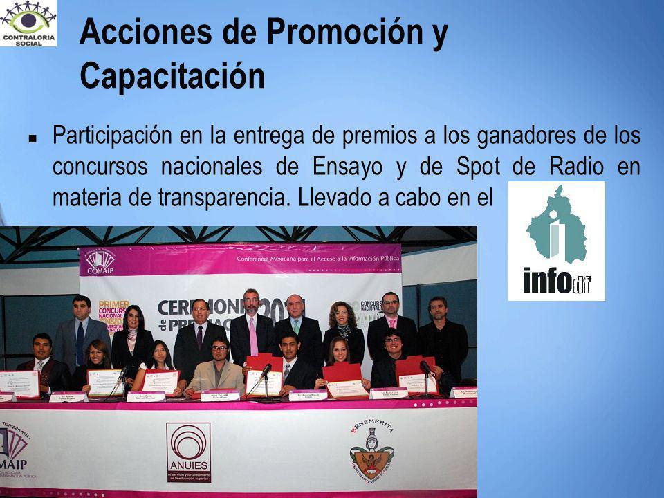 Participación en la entrega de premios a los ganadores de los concursos nacionales de Ensayo y de Spot de Radio en materia de transparencia. Llevado a