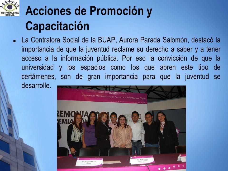 La Contralora Social de la BUAP, Aurora Parada Salomón, destacó la importancia de que la juventud reclame su derecho a saber y a tener acceso a la inf