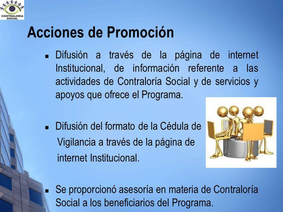 Acciones de Promoción Difusión a través de la página de internet Institucional, de información referente a las actividades de Contraloría Social y de