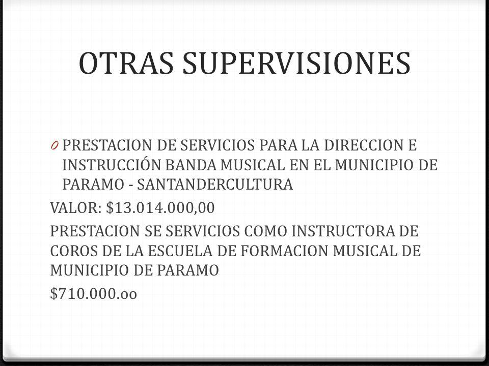 SUPERVICIONES CENTRO VIDA ATENCION INTEGRAL, DURANTE EL DIA A LOS ADULTOS MAYORES DEL MUNICIPIO DE PARAMO SANTANDER. $85.000.000.oo DOTACION DEL CENTR
