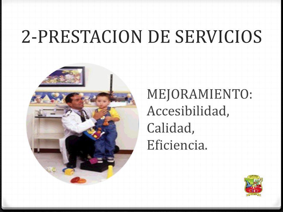 2-PRESTACION DE SERVICIOS MEJORAMIENTO: Accesibilidad, Calidad, Eficiencia.