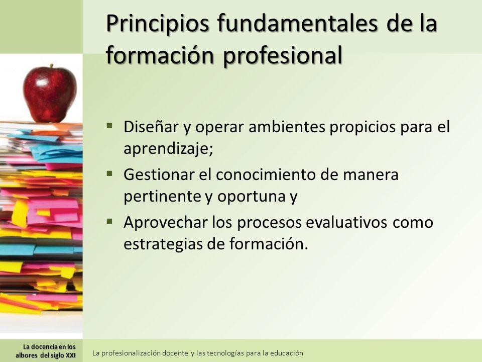 Principios fundamentales de la formación profesional Diseñar y operar ambientes propicios para el aprendizaje; Gestionar el conocimiento de manera pertinente y oportuna y Aprovechar los procesos evaluativos como estrategias de formación.